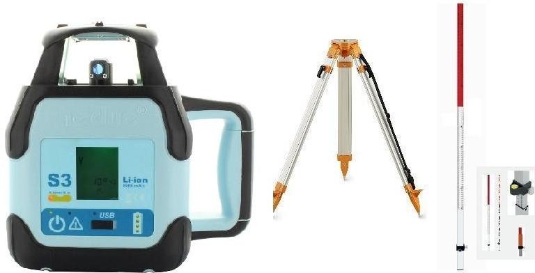 Rotační laser Hedü S3 + stavební stativ a lať