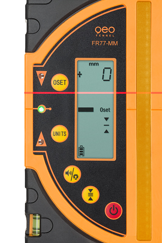 Kombi přijímač FR 77-MM pro lasery s červeným i zeleným paprskem a zobrazením výšky v mm, fotografie 3/5