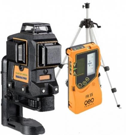 Sada liniového laseru Geo6X-Green s přijímačem FR 55 a klikovým stativem FS 10