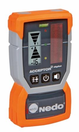 Přijímač ACCEPTOR 2 pro lasery s červeným paprskem se zobrazením výšky v mm