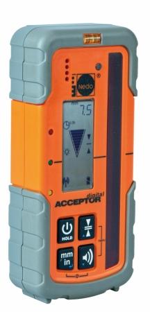 Profi přijímač ACCEPTOR DIGITAL pro lasery s červeným paprskem se zobrazením výšky v mm