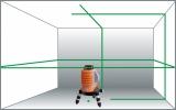 X-Liner 360 Green je zelený laser vytvářející 2 kříže a vodorovnou linku kolem celé místnosti  s přesností +/- 3mm / 10m a dosahem 30m, fotografie 5/3