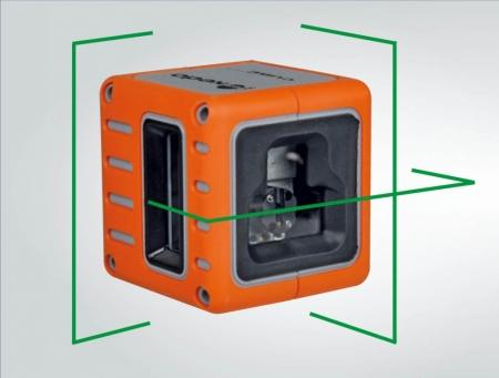 Cube je zelený křízový laser s přesností +/- 3mm / 10m a dosahem 25m